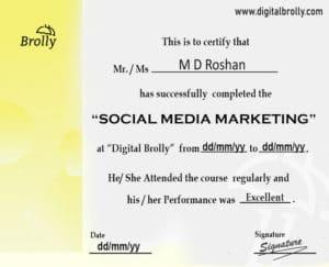 Social Media Marketing Course Certification sample
