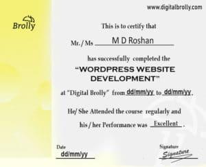 wordpress website development certificate sample