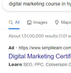 Ad before URL